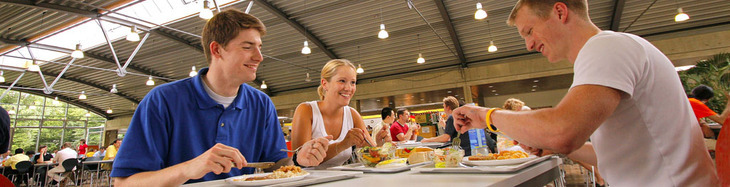 Students eating in one of the dining halls at RWTH Aachen