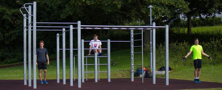 Athletes use the outdoor fitness facility